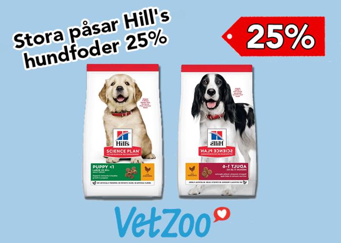 25% på stora påsar Hill's hundfoder