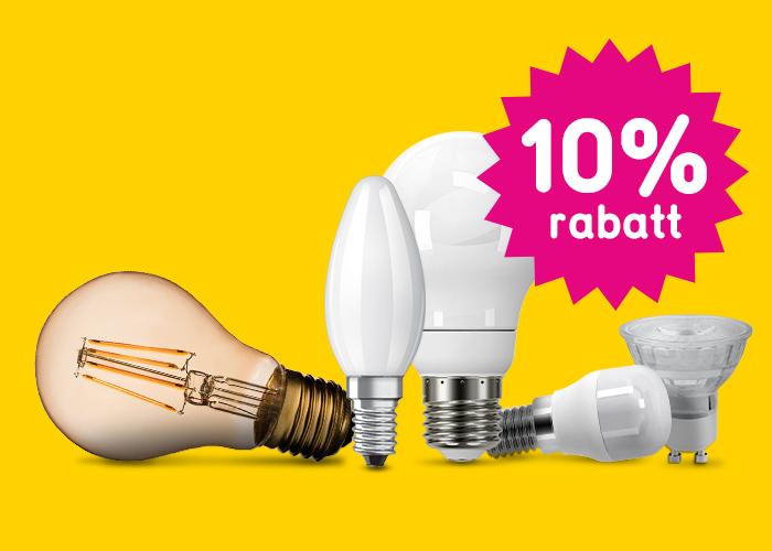 10% rabatt på ALLA lampor!